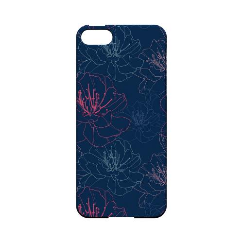 Flower Outline on Blue - Geeks Designer Line Floral Series Hard Case for Apple iPhone 5/5S