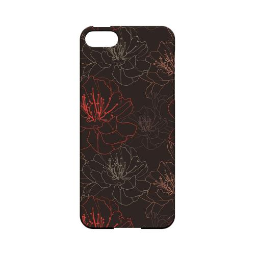 Flower Outline on Brown - Geeks Designer Line Floral Series Hard Case for Apple iPhone 5/5S