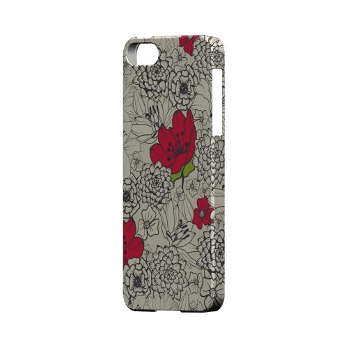 Flower Outline Red Accent - Geeks Designer Line Floral Series Hard Case for Apple iPhone 5/5S
