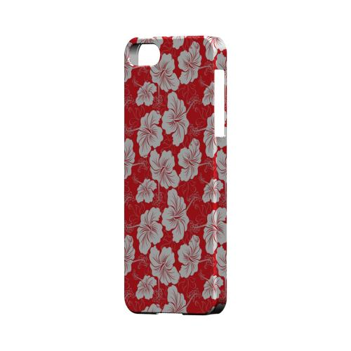 White Hibiscus on Red - Geeks Designer Line Floral Series Hard Case for Apple iPhone 5/5S