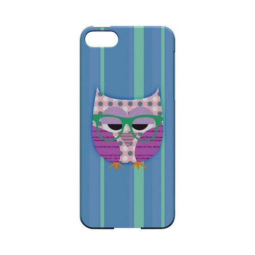 Hipster Owl on Blue/Green Stripes - Geeks Designer Line (GDL) Owl Series Hard Back Cover for Apple iPhone 5/5S