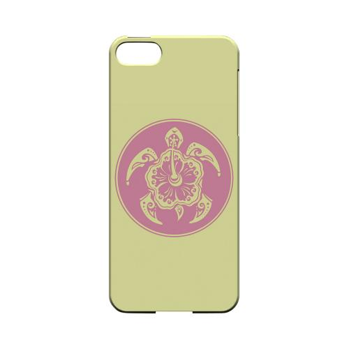 Pink Island Turtle Solo on Yellow - Geeks Designer Line Tattoo Series Hard Case for Apple iPhone 5/5S