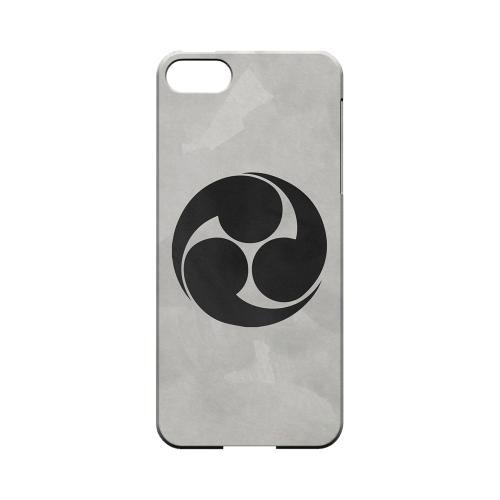 Premium High Impact Resistant Apple iPhone 5/5S Ultra Slim Hard Case - Glossy White Tomoe Kamon on Paper v.1