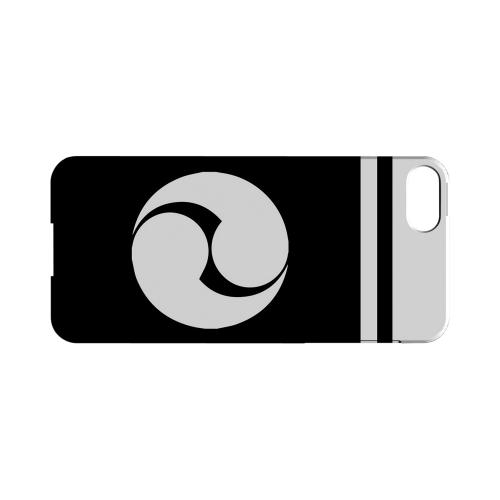 Premium High Impact Resistant Apple iPhone 5/5S Ultra Slim Hard Case - Glossy White White Tomoe Kamon w/ Stripe v.2