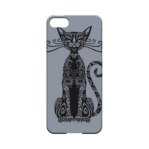 Premium High Impact Resistant Apple iPhone 5/5S Ultra Slim Hard Case - Glossy White Kitty Nouveau on Blue/ Gray