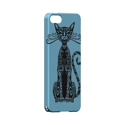 Premium High Impact Resistant Apple iPhone 5/5S Ultra Slim Hard Case - Glossy White Kitty Nouveau on Light Blue