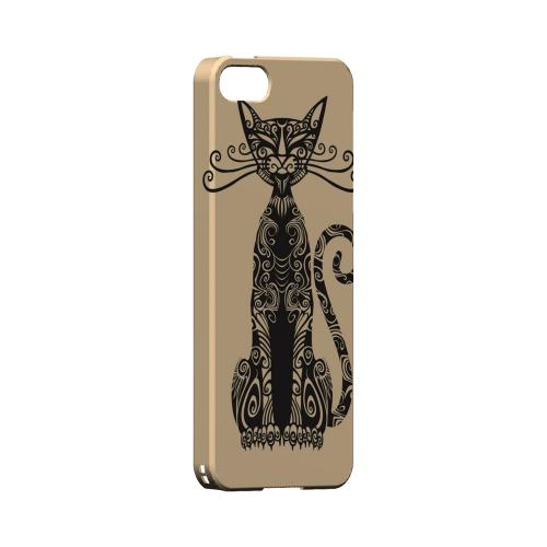 Premium High Impact Resistant Apple iPhone 5/5S Ultra Slim Hard Case - Glossy White Kitty Nouveau on Peach