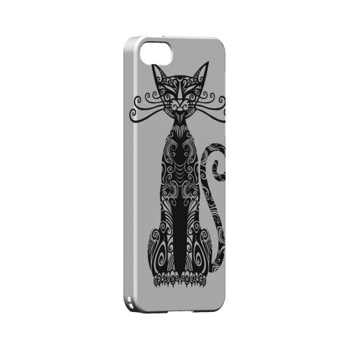 Premium High Impact Resistant Apple iPhone 5/5S Ultra Slim Hard Case - Glossy White Kitty Nouveau on White