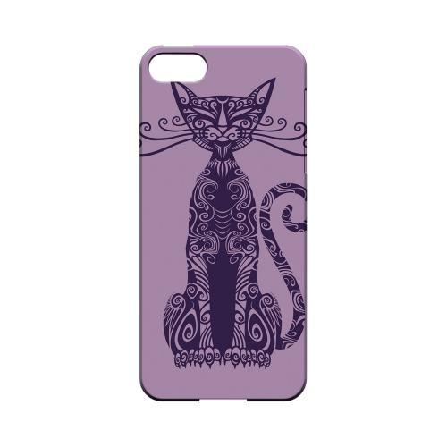 Premium High Impact Resistant Apple iPhone 5/5S Ultra Slim Hard Case - Glossy White Kitty Nouveau on Purple