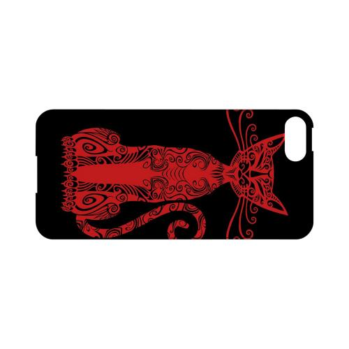 Premium High Impact Resistant Apple iPhone 5/5S Ultra Slim Hard Case - Glossy White Red Kitty Nouveau on Black