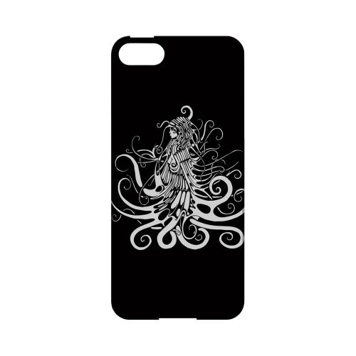 Premium High Impact Resistant Apple iPhone 5/5S Ultra Slim Hard Case - Glossy White White Medusa on Black