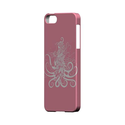 Premium High Impact Resistant Apple iPhone 5/5S Ultra Slim Hard Case - Glossy White White Medusa on Pink