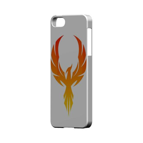 Premium High Impact Resistant Apple iPhone 5/5S Ultra Slim Hard Case - Glossy White Phoenix Flame
