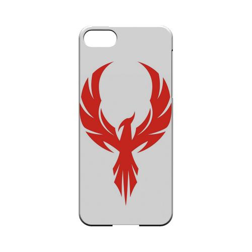 Premium High Impact Resistant Apple iPhone 5/5S Ultra Slim Hard Case - Glossy White Phoenix Red on White