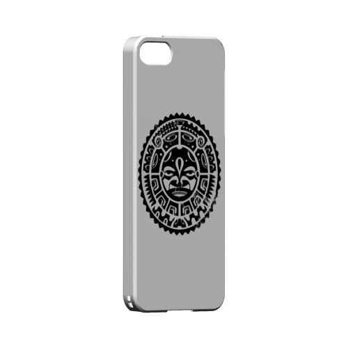 Premium High Impact Resistant Apple iPhone 5/5S Ultra Slim Hard Case - Glossy White Polynesian Face