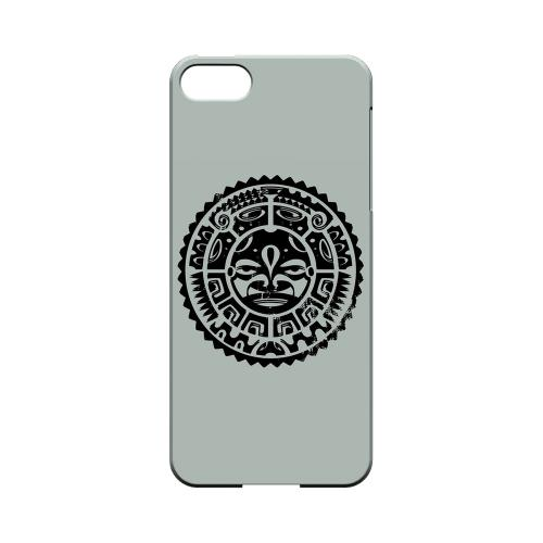 Premium High Impact Resistant Apple iPhone 5/5S Ultra Slim Hard Case - Glossy White Polynesian Face on Gray