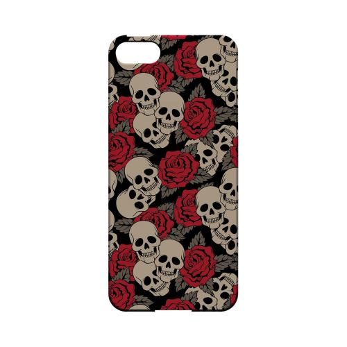 Premium High Impact Resistant Apple iPhone 5/5S Ultra Slim Hard Case - Glossy White Rose Skulls