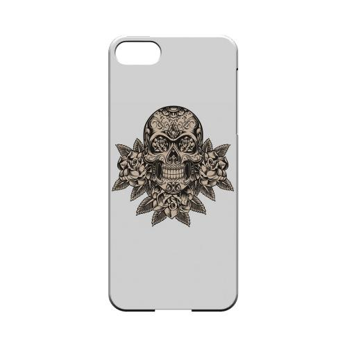 Premium High Impact Resistant Apple iPhone 5/5S Ultra Slim Hard Case - Glossy White Skull Roses