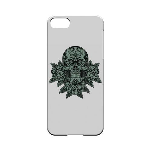 Premium High Impact Resistant Apple iPhone 5/5S Ultra Slim Hard Case - Glossy White Skull Roses Aqua