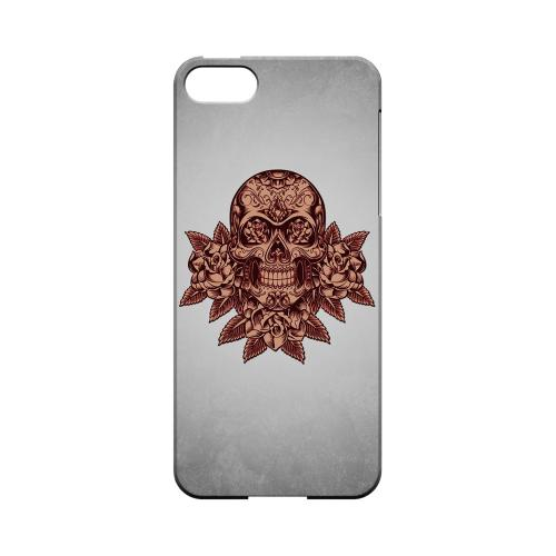Premium High Impact Resistant Apple iPhone 5/5S Ultra Slim Hard Case - Glossy White Skull Roses Red Grunge