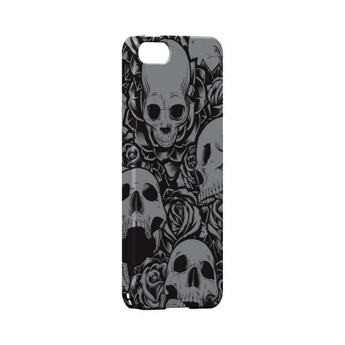 Premium High Impact Resistant Apple iPhone 5/5S Ultra Slim Hard Case - Glossy White Skulls Rose Gray