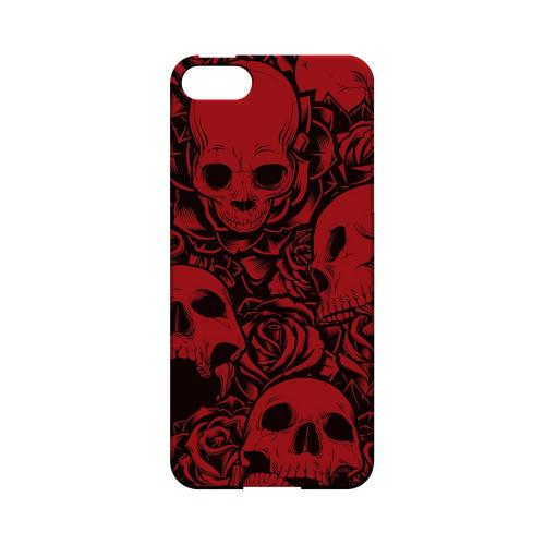 Premium High Impact Resistant Apple iPhone 5/5S Ultra Slim Hard Case - Glossy White Skulls Rose Red/ Black