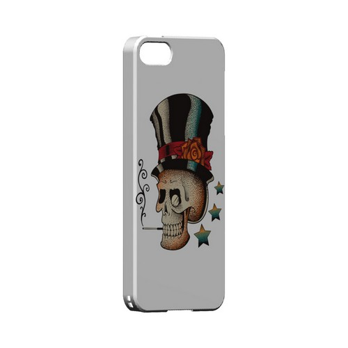 Premium High Impact Resistant Apple iPhone 5/5S Ultra Slim Hard Case - Glossy White Smoking Skull on White