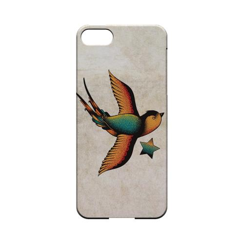 Premium High Impact Resistant Apple iPhone 5/5S Ultra Slim Hard Case - Glossy White Swallow Star