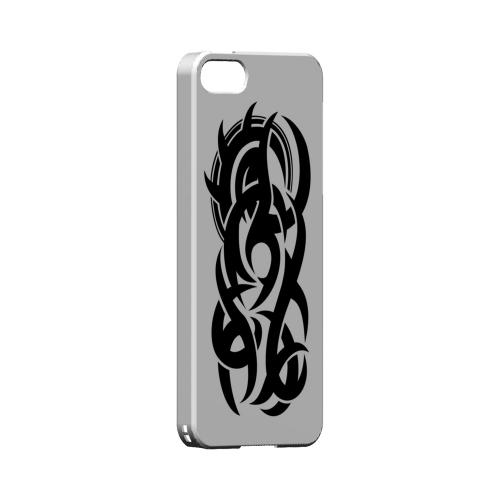 Premium High Impact Resistant Apple iPhone 5/5S Ultra Slim Hard Case - Glossy White Tribal