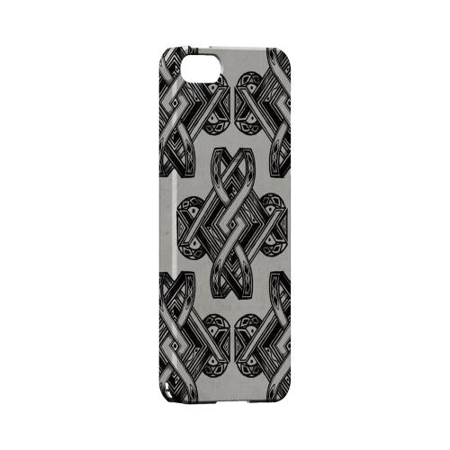 Premium High Impact Resistant Apple iPhone 5/5S Ultra Slim Hard Case - Glossy White Tribal Art