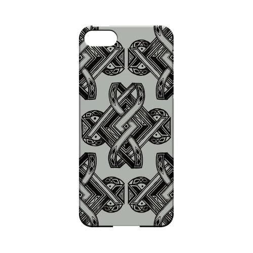 Premium High Impact Resistant Apple iPhone 5/5S Ultra Slim Hard Case - Glossy White Tribal Art on Gray