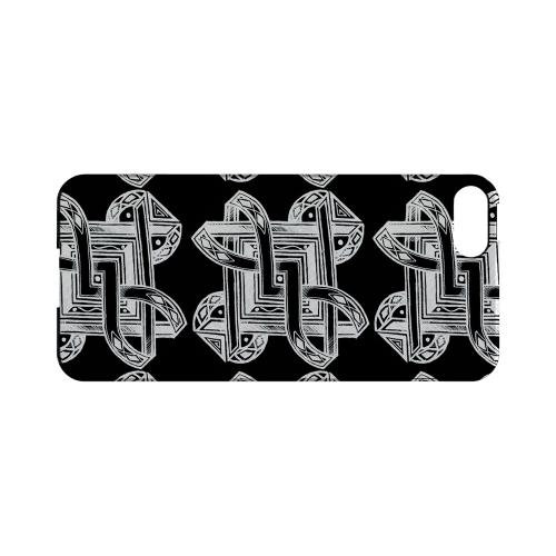 Premium High Impact Resistant Apple iPhone 5/5S Ultra Slim Hard Case - Glossy White Tribal Art Pattern on Black