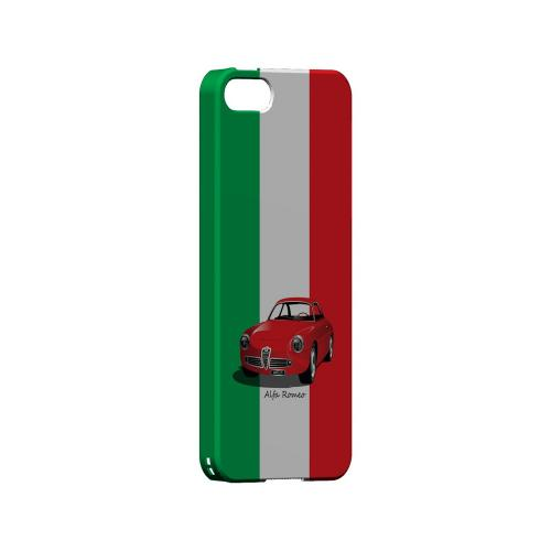 Red Alfa Romeo on Green/ White/ Red - Geeks Designer Line Auto Series Hard Case for Apple iPhone 5/5S