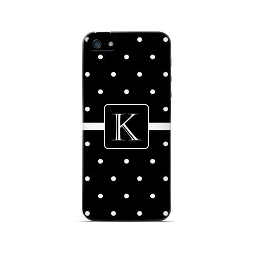 K on Classic Mini Polka Dots - Geeks Designer Line Monogram Series Hard Case for Apple iPhone 5/5S