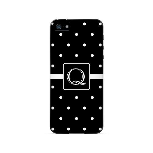 Q on Classic Mini Polka Dots - Geeks Designer Line Monogram Series Hard Case for Apple iPhone 5/5S