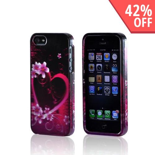 Apple iPhone SE / 5 / 5S Hard Case,  [Hot Pink/ Purple Flowers & Heart]  Slim & Protective Crystal Glossy Snap-on Hard Polycarbonate Plastic Case Cover