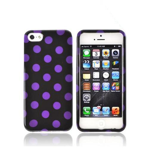 Apple iPhone SE / 5 / 5S Hard Case,  [Purple/ Black Polka Dots]  Slim & Protective Crystal Glossy Snap-on Hard Polycarbonate Plastic Case Cover