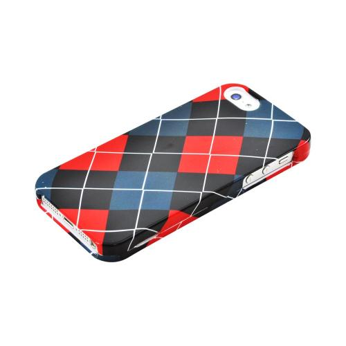 Apple iPhone SE / 5 / 5S Hard Case,  [Red/ Black/ Gray Argyle]  Slim & Protective Crystal Glossy Snap-on Hard Polycarbonate Plastic Case Cover