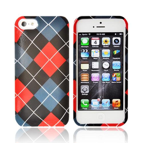 Apple iPhone 5/5S Hard Case - Red/ Black/ Gray Argyle