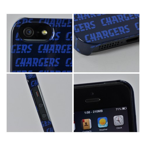 Apple iPhone SE / 5 / 5S Hard Case, NFL Licensed [San Diego Chargers]  Slim & Protective Crystal Glossy Snap-on Hard Polycarbonate Plastic Case Cover