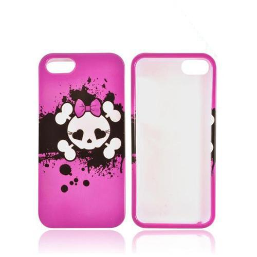 Apple iPhone 5/5S Hard Case - White Skull w/ Bow on Hot Pink