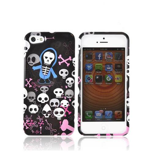 Apple iPhone SE / 5 / 5S Hard Case,  [White Skulls w/ Pink Bones on Black]  Slim & Protective Crystal Glossy Snap-on Hard Polycarbonate Plastic Case Cover