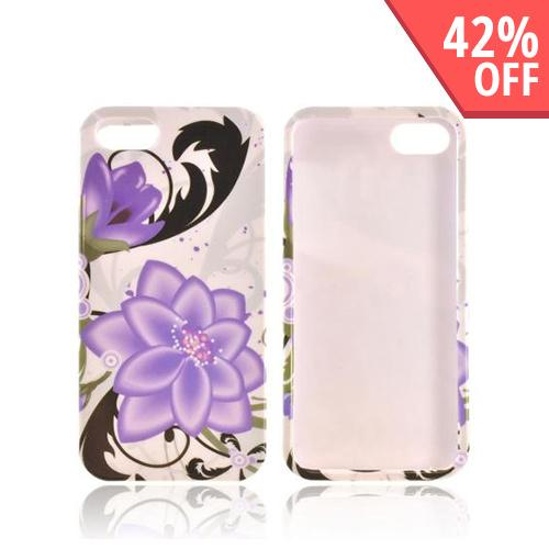 Apple iPhone SE / 5 / 5S Hard Case,  [Purple Lily on White]  Slim & Protective Crystal Glossy Snap-on Hard Polycarbonate Plastic Case Cover