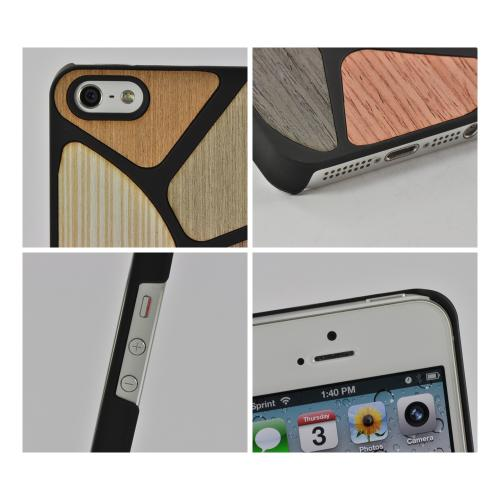 Apple iPhone SE / 5 / 5S Hard Case,  [Black/ Multi-Colored Wood]  Slim & Protective Crystal Glossy Snap-on Hard Polycarbonate Plastic Case Cover