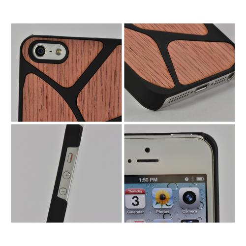 Apple iPhone SE / 5 / 5S Hard Case,  [Black/ Red Wood]  Slim & Protective Crystal Glossy Snap-on Hard Polycarbonate Plastic Case Cover