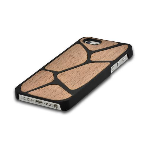 Apple iPhone SE / 5 / 5S Hard Case,  [Black/ Tan Wood]  Slim & Protective Crystal Glossy Snap-on Hard Polycarbonate Plastic Case Cover