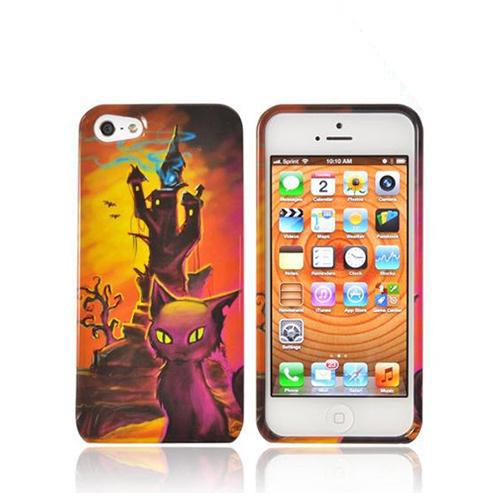 Apple iPhone 5/5S Hard Case - Orange/ Yellow Witch's Tower w/ Cat