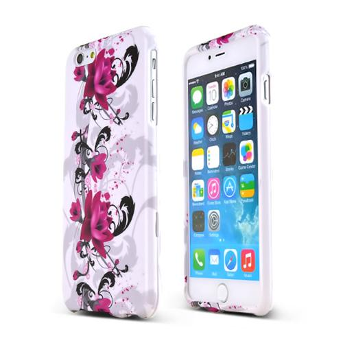 Magenta Flowers on White  Hard Case Cover Made for Apple iPhone 6 PLUS/6S PLUS (5.5 inch) ; Perfect fit as Best Coolest Design Plastic Cases