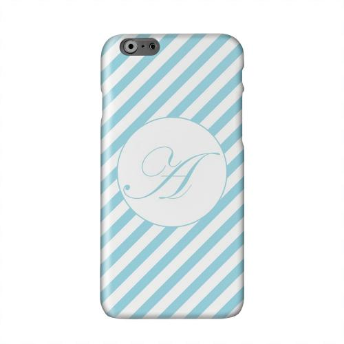 Calligraphy Monogram A on Mint Slanted Stripes Solid White Hard Case Cover for Apple iPhone 6 PLUS/6S PLUS (5.5 inch)