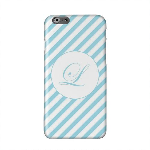 Calligraphy Monogram L on Mint Slanted Stripes Solid White Hard Case Cover for Apple iPhone 6 PLUS/6S PLUS (5.5 inch)